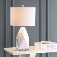 """Oslo 25.5"""" Ceramic Marble/Crystal LED Table Lamp, White by JONATHAN  Y"""