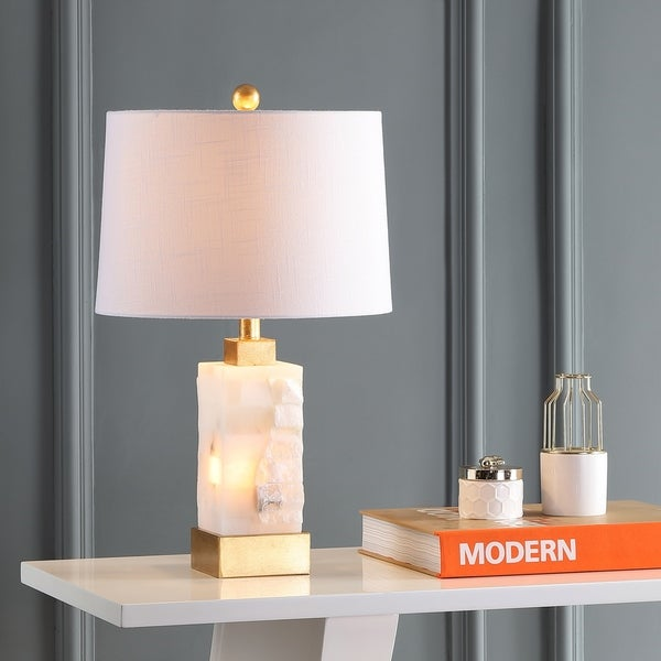 """Eloise 23"""" Alabaster/Metal LED Table Lamp, White/Gold Leaf by JONATHAN Y. Opens flyout."""