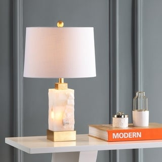 """Eloise 23"""" Alabaster/Metal LED Table Lamp, White/Gold Leaf by JONATHAN Y"""