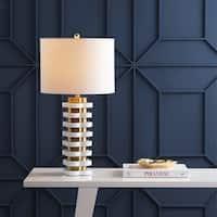 "Wellington 26.5"" Quatrefoil Striped Resin LED Table Lamp, Brass by JONATHAN  Y"