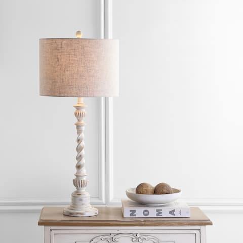 """Regent 33"""" Rustic Resin LED Table Lamp, White Wash by JONATHAN Y"""