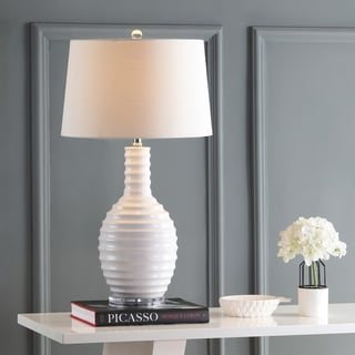 """Dylan 29.5"""" Ceramic LED Table Lamp, White by JONATHAN  Y"""