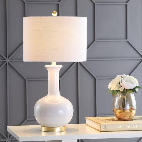"""Brussels 27"""" Ceramic/Metal LED Table Lamp, White/Brass by JONATHAN Y"""