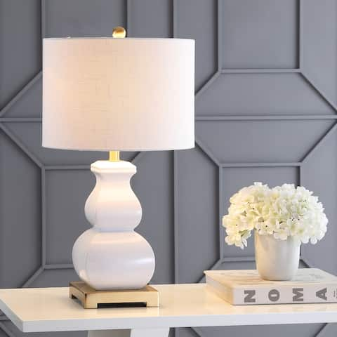 """Vienna 25.5"""" Ceramic LED Table Lamp, White/Gold by JONATHAN Y"""