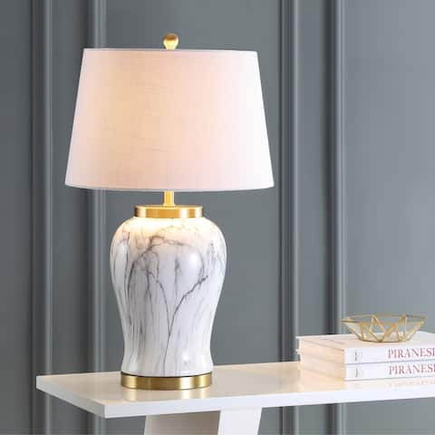 "Prague 28"" Ceramic Marble LED Table Lamp, White/Gold by JONATHAN Y"