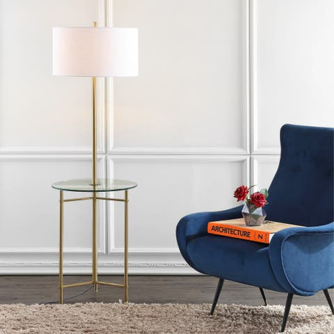 "Charles 59"" Metal/Glass LED Side Table and Floor Lamp, Brass by JONATHAN Y - Brass Gold - 59"" H x 18"" W x 18"" D"