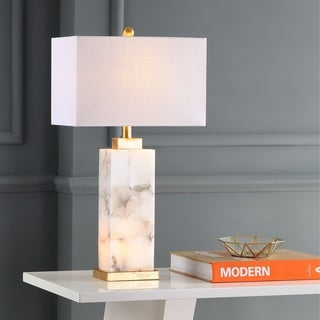 """Elizabeth 27.5"""" Alabaster LED Table Lamp, White/Gold Leaf by JONATHAN Y"""