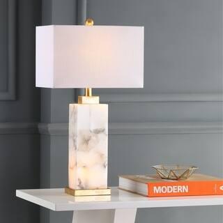 Buy modern contemporary alabaster table lamps online at overstock elizabeth 275 alabaster led table lamp whitegold leaf by jonathan y aloadofball Gallery