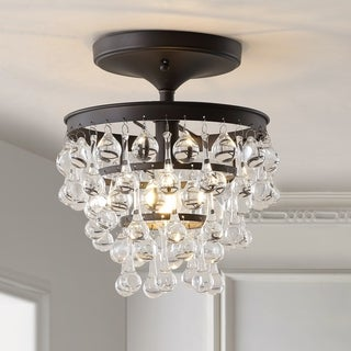 "Toronto 10"" Metal/Crystal LED Flush Mount, Oil Rubbed Bronze by JONATHAN Y"