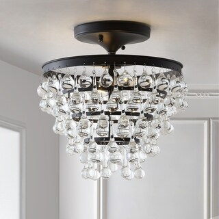 """Toronto 13"""" Metal/Crystal LED Flush Mount, Oil Rubbed Bronze by JONATHAN Y"""