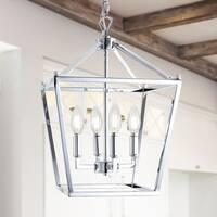 "Pagoda 12"" 4-Bulb Lantern Metal LED Pendant, Chrome by JONATHAN  Y"