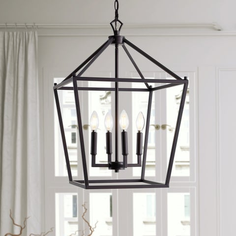 "Pagoda 16"" 4-Bulb Lantern Metal LED Pendant, Oil Rubbed Bronze by JONATHAN Y"