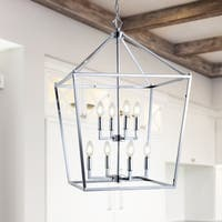 "Pagoda 20"" 8-Bulb Lantern Metal LED Pendant, Chrome by JONATHAN  Y"