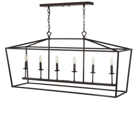 "Pagoda 49"" Linear 6-Bulb Lantern Metal LED Pendant, Oil Rubbed Bronze by JONATHAN Y"