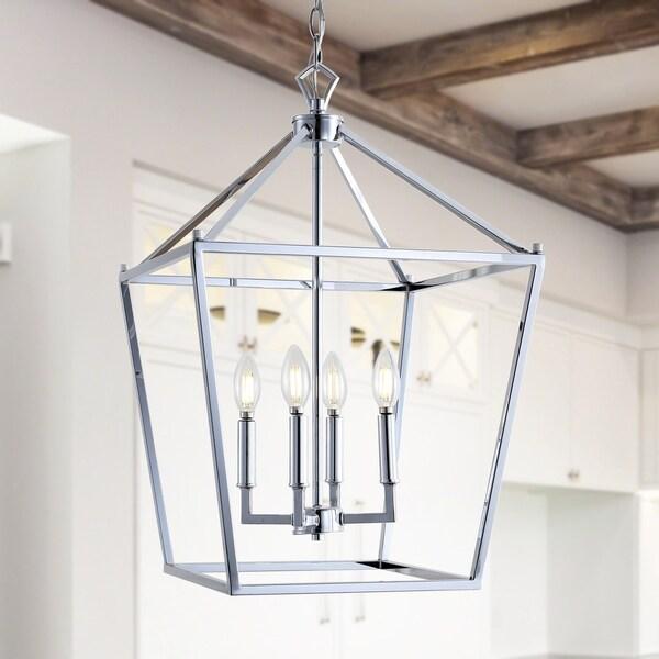 Shop Pagoda 16 Quot 4 Bulb Lantern Metal Led Pendant Chrome