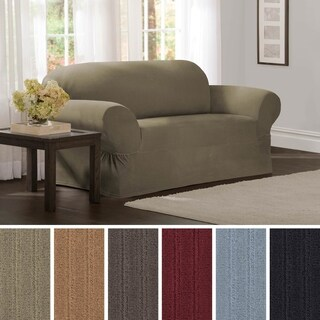 "Maytex Collin Stretch Pinstripe 1 Piece Loveseat Furniture Slipcover - 73""w x 34""h x 38""d"