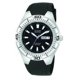 Citizen Men's Eco Drive Black Rubber Strap Titanium Watch