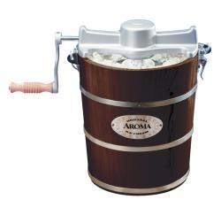 Aroma 4-quart Walnut Wood Barrel Ice Cream Maker