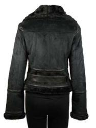 Basic Line Women's Black Faux Shearling Belted Jacket