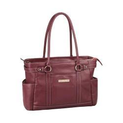 Women's Clark & Mayfield Hawthorne Leather Laptop Handbag 17.3in Port Red