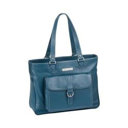 Women's Clark & Mayfield Stafford Pro Leather Laptop Tote 17.3in Deep Teal