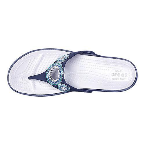 643f59f29 ... Thumbnail Women  x27 s Crocs Sanrah Embellished Diamante Wedge Thong  Sandal Navy Turquoise