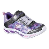 Girls' Skechers S Lights Litebeams Slip-On Sneaker Black/Lavender
