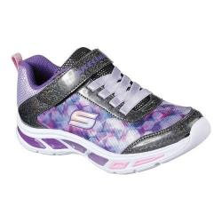 Girls' Skechers S Lights Litebeams Slip-On Sneaker Black/Lavender