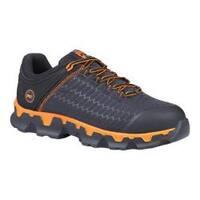 Men's Timberland PRO Powertrain Sport Alloy Safety Toe Work Shoe Black Ripstop Nylon/Orange
