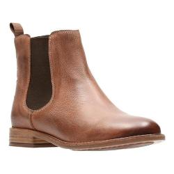 Women's Clarks Maypearl Nala Chelsea Boot Dark Tan Full Grain Leather