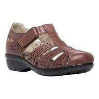 Women's Propet April Fisherman Sandal Brown Full Grain Leather