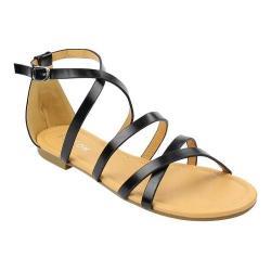 Women's Beston Rome-2 Sandal Black Faux Leather