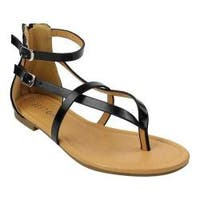Women's Beston Rome-4 Gladiator Sandal Black Faux Leather