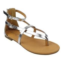 Women's Beston Rome-4 Gladiator Sandal Silver Faux Leather