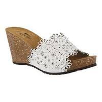 Women's Spring Step Doilie Slide White Leather