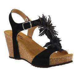 Women's Spring Step Izetta T Strap Sandal Black Suede
