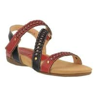 Women's L'Artiste by Spring Step Joaquima Flat Sandal Red Multi Leather