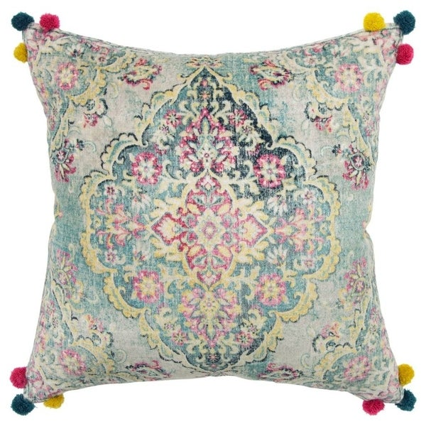 """Rizzy Home Medallion Nutral/Multi Decorative Poly Filled Pillow - 20""""x20"""""""
