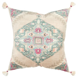 """Rizzy Home Medallion Nutral/Multi Decorative Down Filler Pillow - 20""""x20"""""""