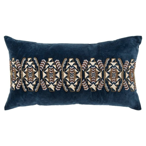 "Rizzy Home Geometric Indigo Decorative Poly Filled Pillow - 14""x26"""
