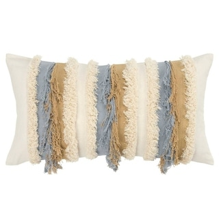"""Rizzy Home Stripe Natural Decorative Poly Filled Pillow - 14""""x26"""""""