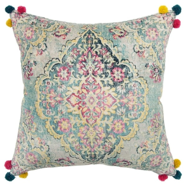 """Rizzy Home Medallion Ivory/Multi Decorative Down Filler Pillow - 20""""x20"""""""