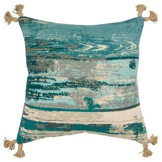 "Rizzy Home Abstract Teal/Natural Decorative Poly Filled Pillow - 20""x20"""