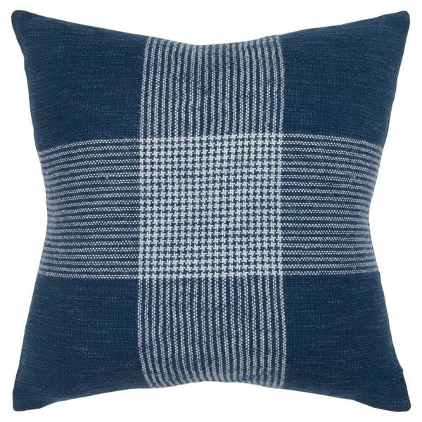 "Rizzy Home Plaid Indigo/White Decorative Down Filler Pillow - 20""x20"""