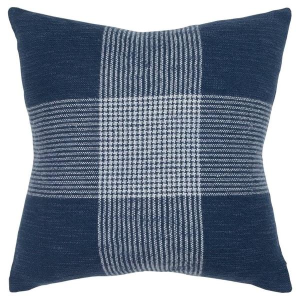 "Rizzy Home Plaid Indigo/White Decorative Poly Filled Pillow - 20""x20"""