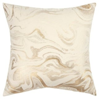 """Rizzy Home Abstract Ivory/Gold Decorative Poly Filled Pillow - 20""""x20"""""""