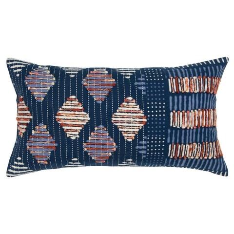 "Rizzy Home Geometric Indigo Decorative Poly Filled Pillow - 14""x26"""