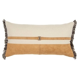The Curated Nomad Sutro Color Block Natural/ Camel Poly-filled Pillow