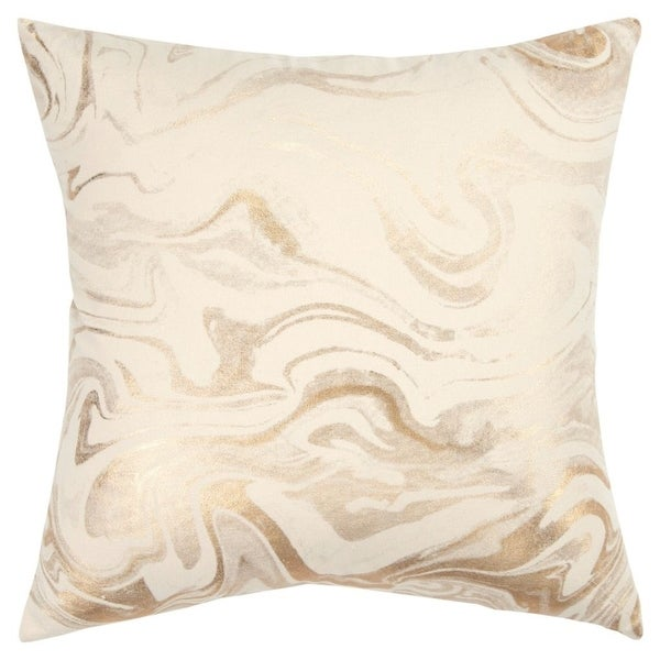 """Rizzy Home Abstract Ivory/Gold Decorative Down Filler Pillow - 20""""x20"""""""