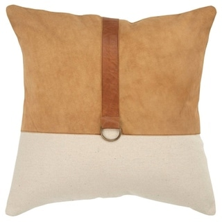 """Rizzy Home Color block Natural/Camel Decorative Poly Filled Pillow - 20""""x20"""""""